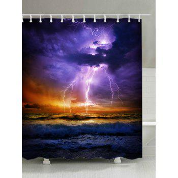 Lightning Ocean Print Fabric Waterproof Shower Curtain - COLORMIX COLORMIX