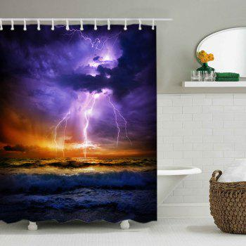 Lightning Ocean Print Fabric Waterproof Shower Curtain - COLORMIX W71 INCH * L71 INCH