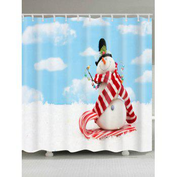 Waterproof Polyester Christmas Snowman Print Bath Curtain - CLOUDY W71 INCH * L71 INCH
