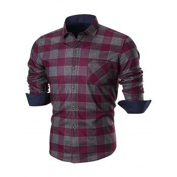 Chest Pocket Slim Fit Plaid Shirt - WINE RED 4XL