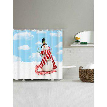 Waterproof Polyester Christmas Snowman Print Bath Curtain - CLOUDY W71 INCH * L79 INCH