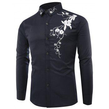 Long Sleeve Flowers Print Shirt - ROYAL 2XL