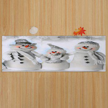 Christmas Snowmen Family Pattern Indoor Outdoor Area Rug - GREY WHITE W16 INCH * L47 INCH