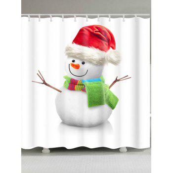 Waterproof Snowman Print Christmas Bath Curtain - WHITE WHITE