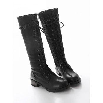 Chunky Heel Tie Up Mid Calf Boots - BLACK BLACK