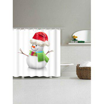 Waterproof Snowman Print Christmas Bath Curtain - WHITE W71 INCH * L79 INCH