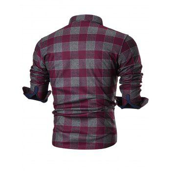 Chest Pocket Slim Fit Plaid Shirt - WINE RED 2XL