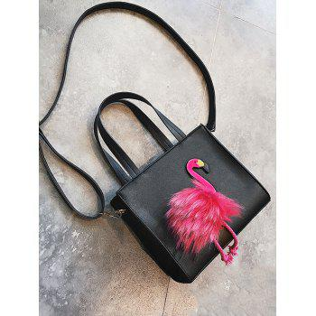 PU Leather Flamingo Handbag - BLACK