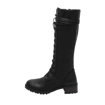 Chunky Heel Tie Up Mid Calf Boots - BLACK 40