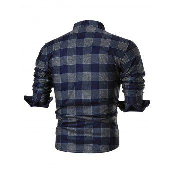 Chest Pocket Slim Fit Plaid Shirt - BLUE 4XL