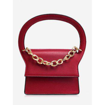 Faux Leather Chain Handbag With Strap - RED RED