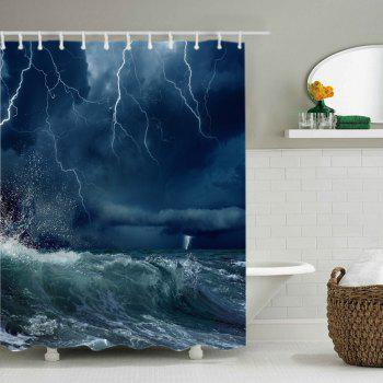 Lightning Ocean Wave Print Fabric Waterproof Shower Curtain - W71 INCH * L71 INCH W71 INCH * L71 INCH