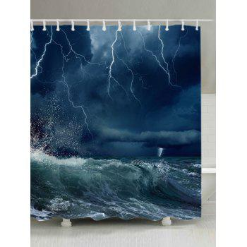 Lightning Ocean Wave Print Fabric Waterproof Shower Curtain - OCEAN BLUE W71 INCH * L71 INCH