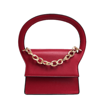 Faux Leather Chain Handbag With Strap -  RED