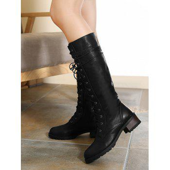 Chunky Heel Tie Up Mid Calf Boots - BLACK 39