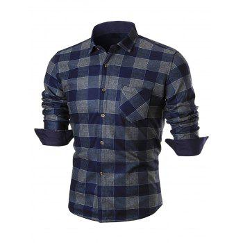 Chest Pocket Slim Fit Plaid Shirt - BLUE 3XL