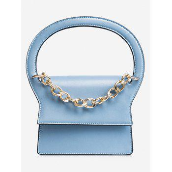 Faux Leather Chain Handbag With Strap - BLUE BLUE