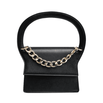 Faux Leather Chain Handbag With Strap - BLACK