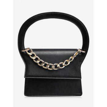 Faux Leather Chain Handbag With Strap - BLACK BLACK