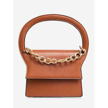 Faux Leather Chain Handbag With Strap - BROWN BROWN