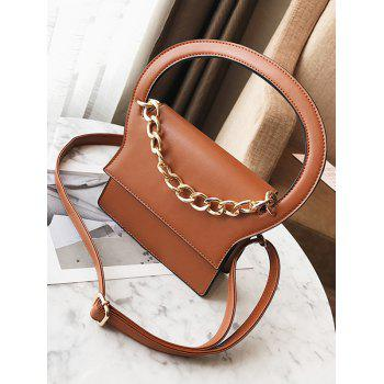 Faux Leather Chain Handbag With Strap -  BROWN