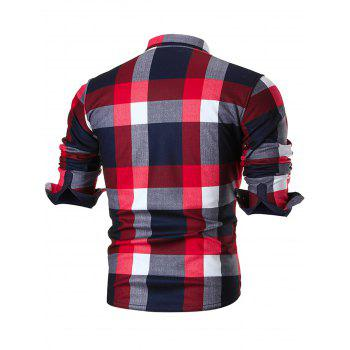 Chest Pocket Slim Fit Plaid Shirt - RED 4XL