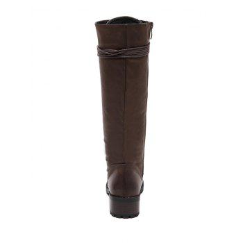 Chunky Heel Tie Up Mid Calf Boots - BROWN 40