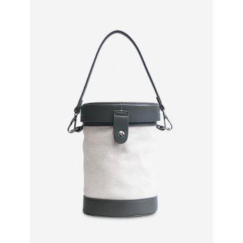 Cylinder Shaped Contrasting Color Crossbody Bag - GRAY GRAY