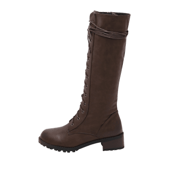 Chunky Heel Tie Up Mid Calf Boots - BROWN 39