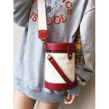 Cylinder Shaped Contrasting Color Crossbody Bag - RED