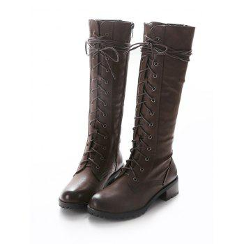 Chunky Heel Tie Up Mid Calf Boots - BROWN 37