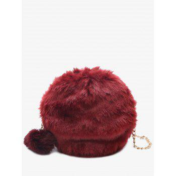 Faux Fur Chain Pompom Crossbody Bag - RED RED