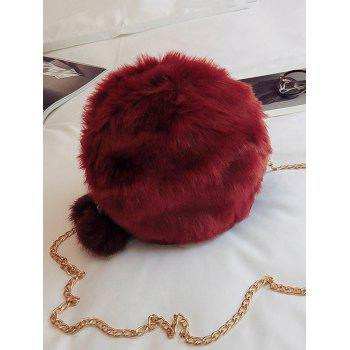 Faux Fur Chain Pompom Crossbody Bag -  RED