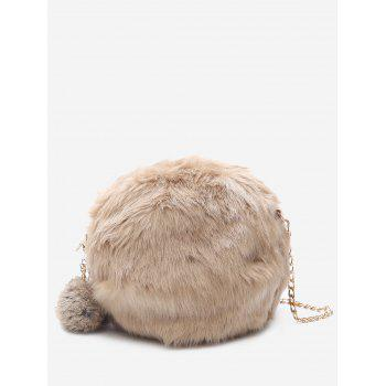 Faux Fur Chain Pompom Crossbody Bag - KHAKI KHAKI