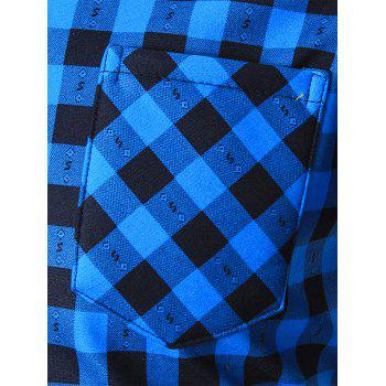 Warm Thicken Turn Down Collar Checkered Shirt - BLUE XL