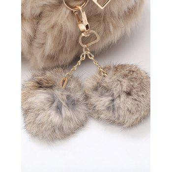 Faux Fur Chain Pompom Crossbody Bag - KHAKI
