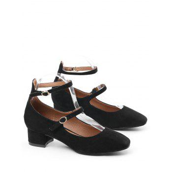 Ankle Strap Buckle Straps Pumps - BLACK 35