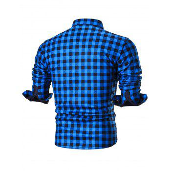Warm Thicken Turn Down Collar Checkered Shirt - BLUE 4XL
