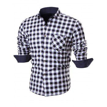 Warm Thicken Turn Down Collar Checkered Shirt - WHITE 4XL