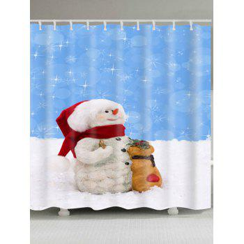 Waterproof Polyester Snowman Christmas Bath Curtain - BLUE AND WHITE W59 INCH * L71 INCH