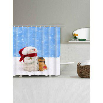 Waterproof Polyester Snowman Christmas Bath Curtain - BLUE/WHITE W59 INCH * L71 INCH