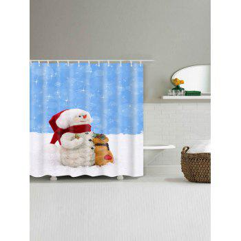 Waterproof Polyester Snowman Christmas Bath Curtain - BLUE/WHITE BLUE/WHITE