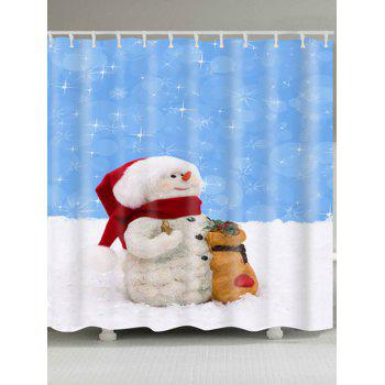 Waterproof Polyester Snowman Christmas Bath Curtain - BLUE AND WHITE BLUE/WHITE