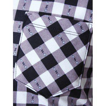 Warm Thicken Turn Down Collar Checkered Shirt - WHITE XL