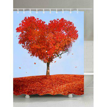 Heart Maple Tree Print Fabric Waterproof Shower Curtain - RED RED
