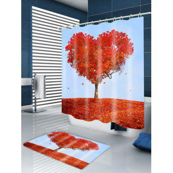 Heart Maple Tree Print Fabric Waterproof Shower Curtain - RED W71 INCH * L71 INCH