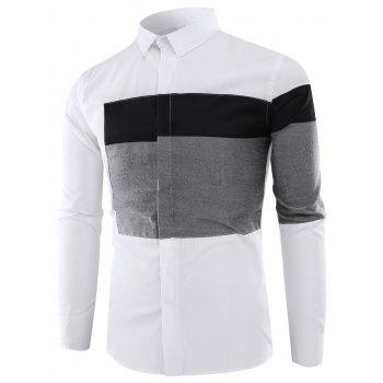 Long Sleeves Color Block Panel Shirt - BLACK BLACK