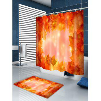 Maple Leaves Print Fabric Waterproof Shower Curtain - ORANGE W59 INCH * L71 INCH