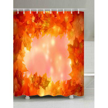 Maple Leaves Print Fabric Waterproof Shower Curtain - ORANGE ORANGE