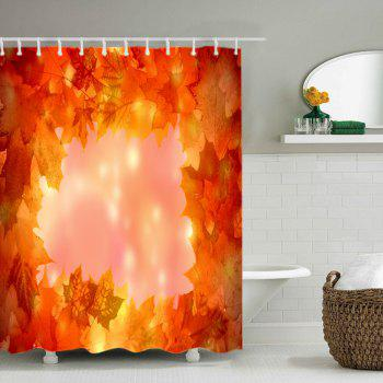 Maple Leaves Print Fabric Waterproof Shower Curtain - ORANGE W71 INCH * L71 INCH